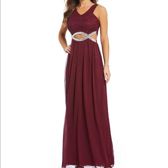 45e65ccd3e1 ❤️Burgandy Xtraordinary Lace Waist Long dress prom